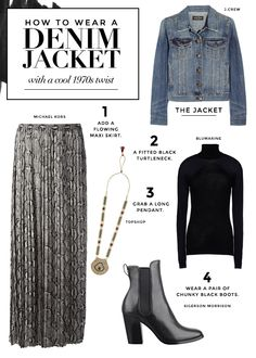 What to wear with a jean jacket to give it a cool 1970s twist