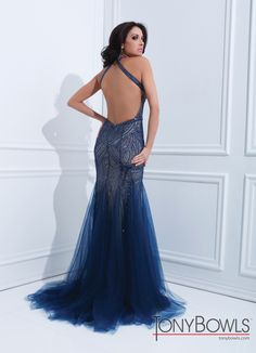 Tony Bowls 2014 Navy Blue Champagne Silver Halter Beaded Meremaid Elegant Evening Gown 114728 | Promgirl.net
