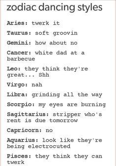 Signos del zodiaco y la danza :D