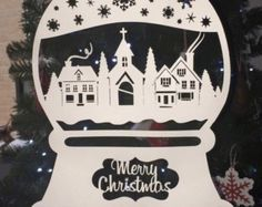 Merry Christmas Village scene snow globe papercut template. CYO papercutting christmas template for ~PERSONAL use