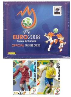 """2008 Panini UEFA Euro 2008 """"Main"""" Soccer Cards Box by Panini. $50.00. Factory sealed box of official Euro 2008 soccer cards. This series is manufactured by Panini of Italy and contains 24 6-card packs. It is a fully licensed Euro 2008 product. It is a fully licensed Euro 2008 product and is one of two distinct card products made by Panini for Euro 2008. The series consists of 195 high quality cards, including 148 """"golden"""" player cards, 25 super action """"ultracards"""" and 22 log..."""