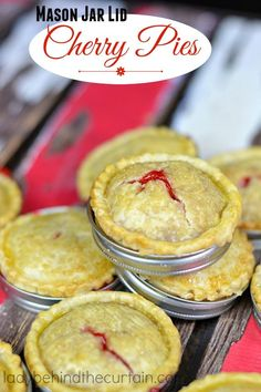Mason Jar Lid Cherry Pies:  An easy to make fun way to serve cherry pies for a party.  Full of cherries and crispy crust. Barbecue season is here!  Wouldn'