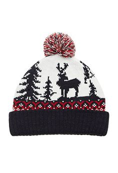 Reindeer Graphic Pom Beanie | Forever 21 - 2000146712