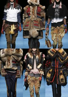 DSQUARED2 | Samuri V's Victoriana – Fur Trims – Japanese Illustration Embroideries – Sequined Camo – Military Detail – Lace & Fringe – Multi Layers – Tattooed Body Stockings – Beaded lace | MILAN | http://vogue.co.uk
