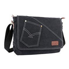 66e06c6086 Amazon.com  OXA Canvas Messenger Bag Shoulder Bag Laptop Bag Computer Bag  ipad Bag Book Bag Travel Bag Purse Daypack School Bag Satchel Bag Work Bag  ...