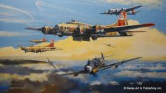 Ruhr valley raiders by Robert BaiB-17's of the 91st Bomb Group are attacked over Germany by Me-109's. The 91st were first over the Ruhr Valley to Hamm, and led both Schweinfurt missions in 1943. They received credit for shooting down more enemy aircraft then any other group in the Eight Air Force, and had the highest overall loss rate of any other B-17 group! Only 12% of original crews survived the war. Main subject is the B-17 'Nine-O-Nine.' Others shown: 'The Wild Hare,' and 'General…