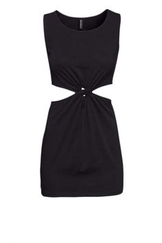 Color Block Round Neck Sleeveless Dress with Cutout Side