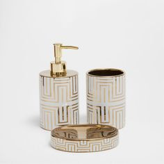 CERAMIC GOLDEN TRANSFER BATHROOM SET