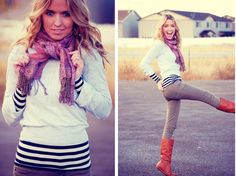 Love the layered sweater and striped shirt.