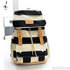 Fresh White Blue Striped Drawstring Backpack