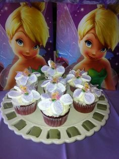 Fairy cupcakes with marshmallow flower petals.