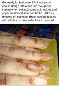 Witch finger sugar cookies! Yes, this is so rad.
