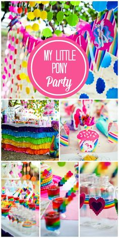 What an incredible My Little Pony girl birthday party in all the colors of the rainbow!  See more party ideas at CatchMyParty.com!: