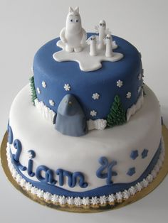 Moomin cake with Moomin, The Groke and the Hattifatteners Fancy Cupcakes, Character Cakes, Love Cake, How Sweet Eats, Pretty Cakes, Creative Cakes, Let Them Eat Cake, How To Make Cake, Cake Designs