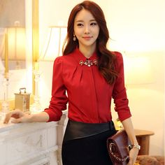 Free Shipping Korean Office Style Shirts For Fitness Women 2013 New Fashion Puff Long Sleeve Blouses With Rhinestones 88965 US $13.75