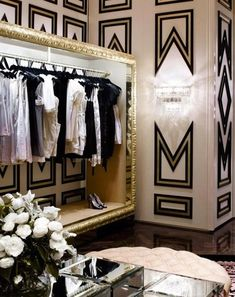 Designing a dressing room can be as demanding as any room. You have to choose a color scheme, decorating style, furnishings. So let's talk about decorating a dressing room in various styles. To choose the right style for your dressing… Continue Reading → Glam Room, Room Closet, Closet Space, Closet Wall, Master Closet, Closet Doors, Dream Closets, Plywood Furniture, Gold Furniture