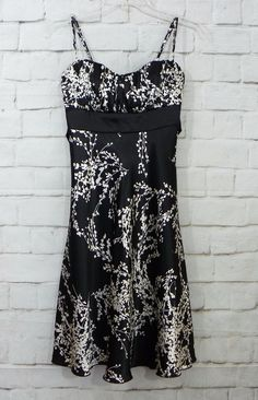 Jrs SPEECHLESS Satiny Black Ivory Floral Ruched Chest Empire Waist Dress SZ 3…