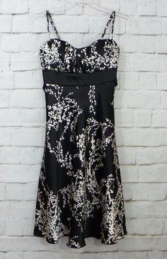 Jrs SPEECHLESS Satiny Black Ivory Floral Ruched Chest Empire Waist Dress SZ 3…