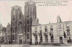 Forum Eerste Wereldoorlog :: Bekijk onderwerp - 14-18 Toen & Nu De abdijkerk met rechts daarvan het klooster van de Zwart Zusters.