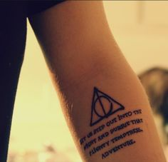 "Dumbledore then waved his wand again, and the front door opened onto cool, misty darkness.  ""And now, Harry, let us step out into the night and pursue that flighty temptress, adventure."" #tattoo #Harry #Potter"