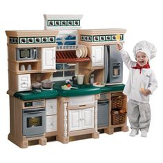 The Step 2 Lifestyle Deluxe Kitchen is designed to look just like a real kitchen. This playset has a granite-style countertop and a play sink with a pullout sprayer. Plus, the set has a framed window with a working overhead light. Paneled cabinets, drawers and 2 pullout baskets offer ample storage space. The kids play kitchen comes with faux-stainless appliances such as a stove, microwave oven and dishwasher. These appliances make cooking sounds to add to the fun. With 28 accessories and an…