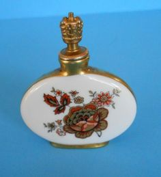Vintage German Crown Top Porcelain Perfume Bottle Hand Painted Details Floral | eBay