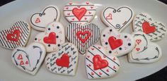 Valentines in red, white, and black - Decorated Sugar Cookies by I Am The Cookie Lady