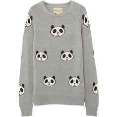 Wildfox Grey panda intarsia jumper found on Polyvore