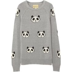 Wildfox Grey panda intarsia jumper found on Polyvore