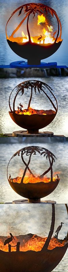 """Another Day in Paradise 37"""" Hand Crafted Steel Fire Pit."""