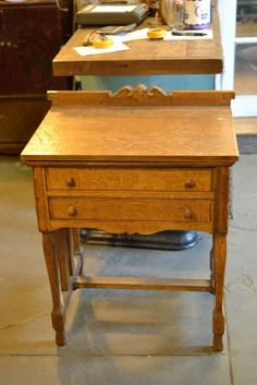 Antique Oak Sewing Stand Dressing Table Bedside or End Table Pull Out Door C019 #Traditional