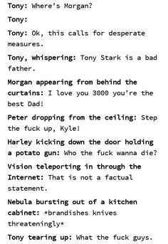 marvel universe They all love u thats What Tony, Marvel Quotes, Funny Marvel Memes, Dc Memes, Avengers Memes, Marvel Avengers, Memes Humor, Marvel Fan, Marvel Dc Comics, Marvel Heroes