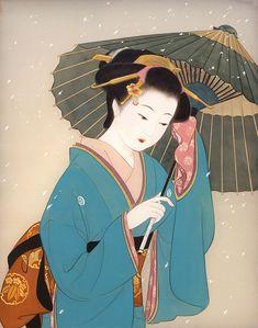 女性イラスト 美人画 雪 [Kisho Tsukuda]