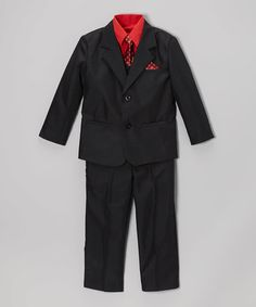 Loving this Black & Red Five-Piece Suit - Infant, Toddler & Boys on #zulily! #zulilyfinds