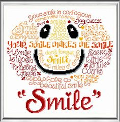 Lets Smile 'Words' cross stitch pattern designed by Ursula Michael,