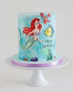 Happy 5th birthday to a special little lady today. This is another double barrel cake with hand painted images. So fun to do! #doublebarrel #happybirthday #birthdaycake #customcakes #noveltycakes #littlemermaid #ariel #arielcake #paintedcake #handpainted #disneycake #disney