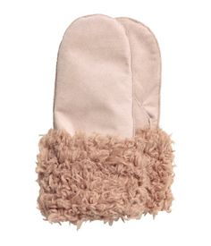 e9110432cd0c4 Light beige. PREMIUM QUALITY. Suede mittens with faux fur trim at cuffs.  Lined