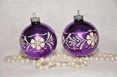 Vintage Stencil Shiny Brite Purple Christmas Ornaments