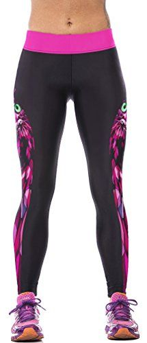 Imilan Womens Exotic Printed Workout Capri Leggings Pants Stretch Tights Free Size Purple Owls *** To view further for this item, visit the image link.