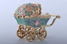 Baby Carriage Trinket Box by Keren Kopal Faberge Egg Swarovski Crystal Jewelry