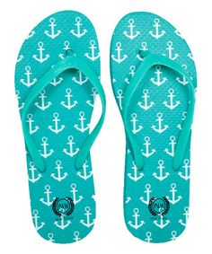 Reef Anchors Flip-Flop  turquoise teal Beach cottage life!