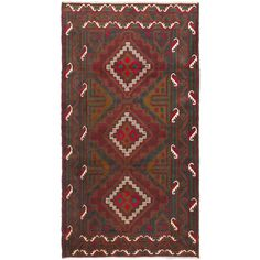eCarpetGallery Hand-knotted Royal Baluch and Red Rug