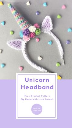 Unicorn Headband Unicorn Headband Made With Love Amp Yarn Free Crochet Pattern Crochet Unicorn Hat, Crochet Headband Pattern, Unicorn Headband, Knitted Headband, Headband Baby, Crochet Unicorn Pattern Free, Crochet Headbands, Crochet For Kids, Free Crochet