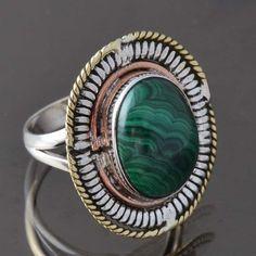 925 SOLID STERLING SILVER AMAZING Malachite FANCY RING 7.66g DJR9326 SZ-9 #Handmade #Ring