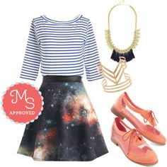 In this outfit; Supernova Twirl Skirt, Around the Block Top, Glamour and More Necklace, Highlight of the Show Bracelet, Clearly Now Flat #backtoschool #galaxy #oxfords