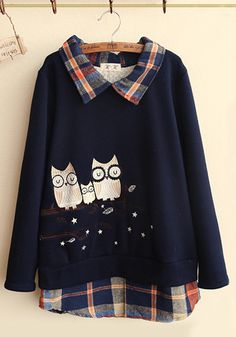 Owl Family Embroidery Plaid Collar Pullover Sweater Long Sleeves Top