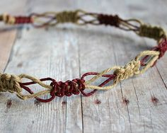 Flat Natural Brown Hemp Surfer Necklace by SunnyBeachJewelry