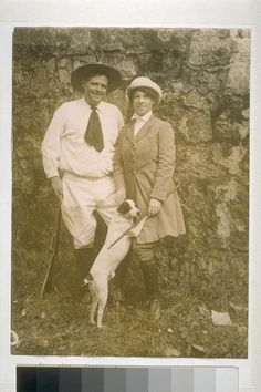 Jack London, his wife and dog.