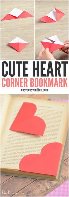 10 Easy Crafts for Teens to Make at Home DIY Fun Projects valentines day crafts to sell Heart Corner Bookmarks - Easy Peasy and Fun Easy Crafts For Teens, Valentine's Day Crafts For Kids, Crafts To Do, Kids Diy, Crafts Cheap, Summer Crafts, Craft Ideas For Teen Girls, Easy Paper Crafts, Diy Crafts For Gifts