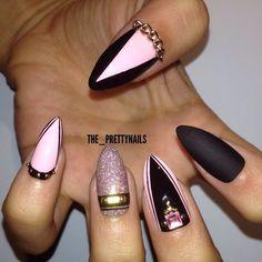Pink black Nail Art Stiletto nails